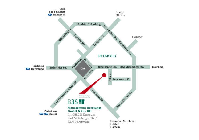Anfahrtsskizze   Management-Beratung in Detmold, Lippe und OWL
